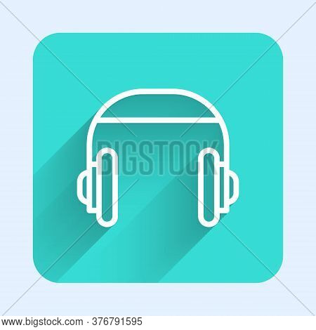 White Line Headphones Icon Isolated With Long Shadow. Support Customer Service, Hotline, Call Center
