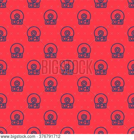 Blue Line Cd Or Dvd Disk Icon Isolated Seamless Pattern On Red Background. Compact Disc Sign. Vector