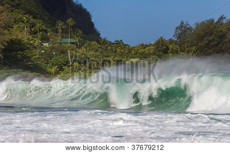 Big Wave At Tunnels Beach At Kauai