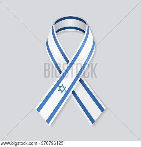 Israeli Flag Stripe Ribbon On White Background. Vector Illustration.