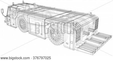 Airplane Tow Truck. Wire-frame. Towing Vehicle Vector Illustration Transport In Airport. The Layers