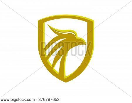 Eagle Head In A Golden Shield Vector, Luxury Eagle Head Icon Logo, Eagle Icon Vector, Eagle Falcon,