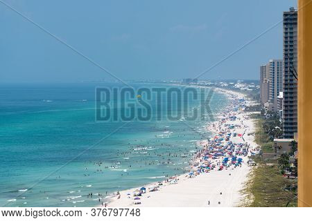 Panama City Beach Florida Skyline Beachfront Crowd July 2020