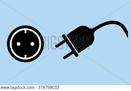 Unplugged Electric Plug And Socket Symbol Or Icon Vector Illustration