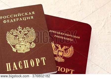 Passport Of The Russian Federation On A Light Background. The Inscription In Russian: Russian Federa