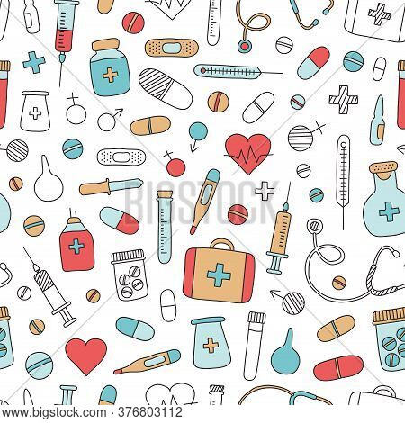 Medical Seamless Pattern Hand Drawn. Mobile Medicine, Medical Research. Vector Illustration