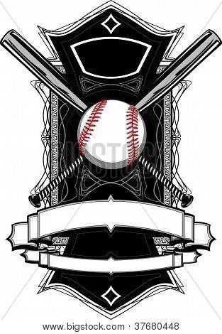 Baseball Bats, Baseball, On Ornate Vector Graphic