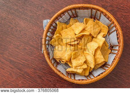 Traditional Indonesian Casave Crackers, Served In A Basket