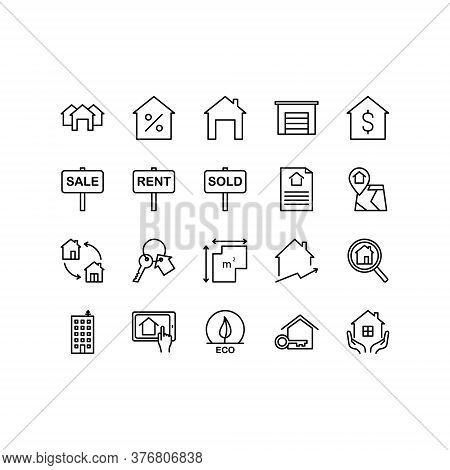 Real Estate Icon Set. Includes Such As Sicons As A House, Apartment, Keys, Garage, Cottage, House La