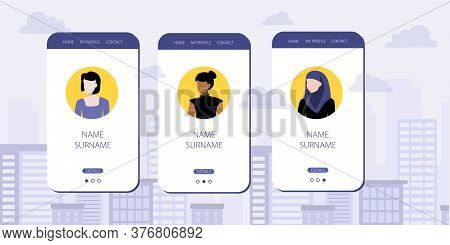 Vector Illustration Of Social Network Mobile Avatars For Different Nationalities. White, Black And M