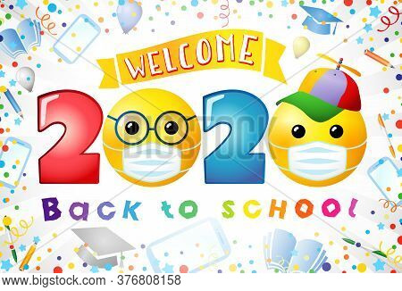 Back To School Creative Web Banner. Class Of 2020 Sign, Award Concept. 3d Colorful Numbers, Cartoon
