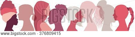 Silhouette Group Of Multiethnic Women Who Talk And Share Ideas And Information. Social Network Femal