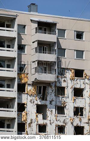 The Demolition Apartment Building In Espoo, Finland.