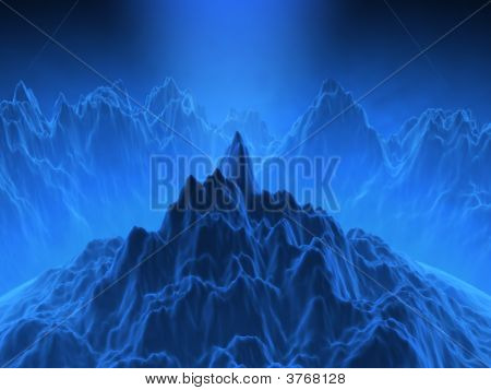 Fantasy Computer Generated Scene With Mountains And Blue Atmosphere