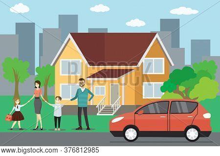 Cartoon Caucasian Family, Big House And Red Car