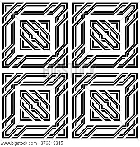 Design Seamless Monochrome Square Pattern. Abstract Stripy Background. Vector Art