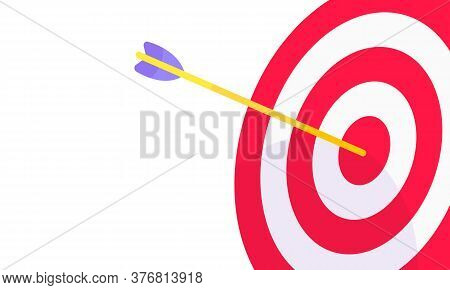 Sport Target Icon With Arrow In The Bullseye With Shadows On It. Goal Achievement Symbol Icon Sign V