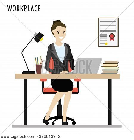 Work Desk, Caucasian Business Woman In The Workplace
