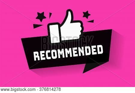 Recommended Icon For Great Deal Advice Banner With Thumb Up Sign. Best Price Banner Design Vector Il