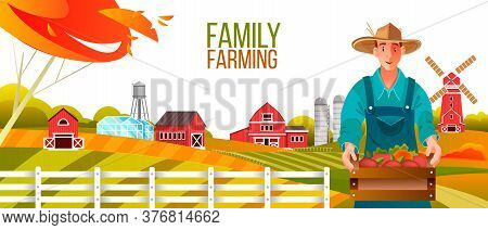 Organic family farming vector illustration with male farmer in hat and apron, mill, hills, fields, barn, tree. Agriculture autumn rustic background with gardener holding box of apples. Rural banner