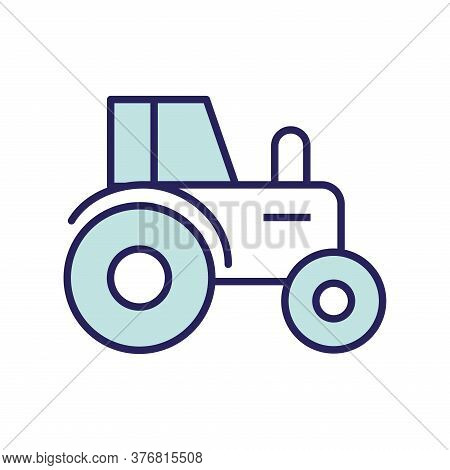 Farm Tractor Line And Fill Style Icon Design, Agronomy Lifestyle Agriculture Harvest Rural Farming A