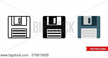 Floppy Disk Icon Of 3 Types. Isolated Vector Sign Symbol.