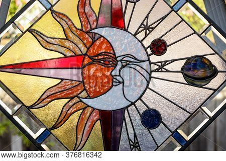 Celestial Abstract Stained Glass Window Panel Artwork