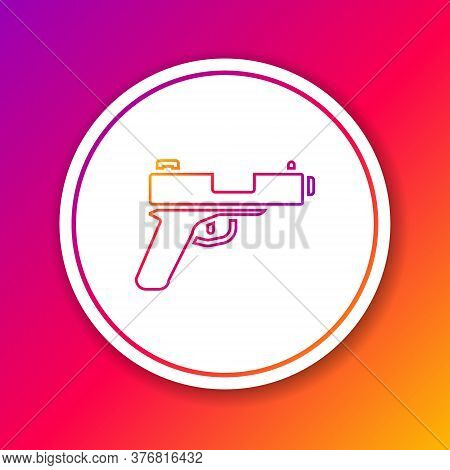 Color Line Pistol Or Gun Icon Isolated On Color Background. Police Or Military Handgun. Small Firear