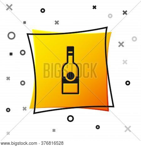 Black Glass Bottle Of Vodka Icon Isolated On White Background. Yellow Square Button. Vector