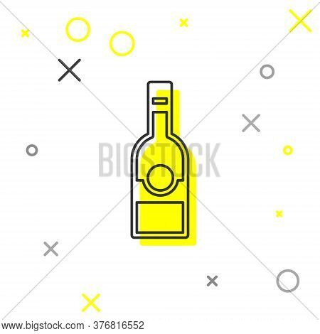 Grey Line Glass Bottle Of Vodka Icon Isolated On White Background. Vector
