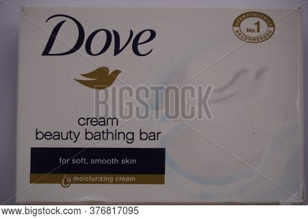 An Old Pack Of 100g Bar Of Dove Beauty Cream Bar Soap On A White Background. Dove Beauty Cream Bar I