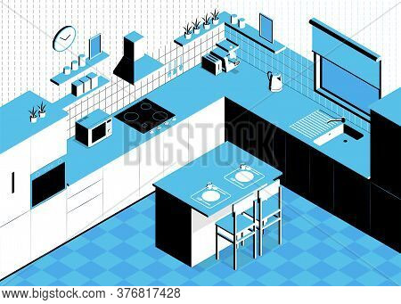 Isometric Kitchen Composition With Indoor Scenery Table And Walls With Cabinets And Kitchenware Sink