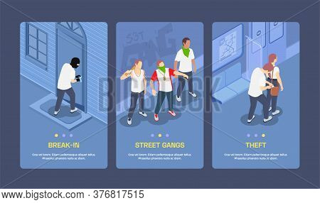 Isometric Vertical Banners Set With Street Gangs Committing Thefts And Breaking Locks 3d Isolated Ve