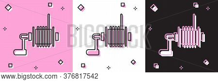 Set Spinning Reel For Fishing Icon Isolated On Pink And White, Black Background. Fishing Coil. Fishi