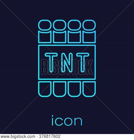 Turquoise Line Detonate Dynamite Bomb Stick And Timer Clock Icon Isolated On Blue Background. Time B