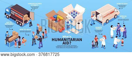 Humanitarian Support Isometric Infographics With Volunteers Giving Food And Medicine To Refugees 3d