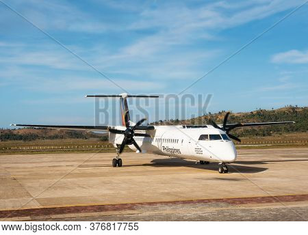 San Vicente, Philippines - January 30, 2019: Bombardier Q400 Airplane Philippine Airlines At Small A