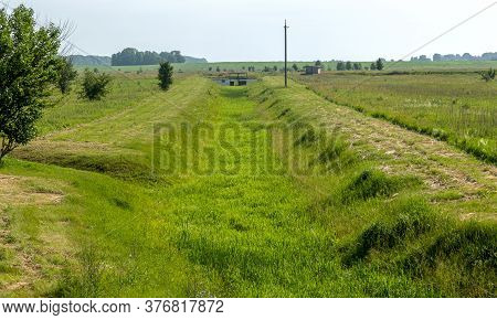Ecological Problems, Global Warming. Drought. Dry Irrigation Canal Without Water. Disaster, Crop Los