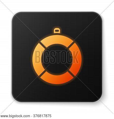 Orange Glowing Neon Lifebuoy Icon Isolated On White Background. Lifebelt Symbol. Black Square Button