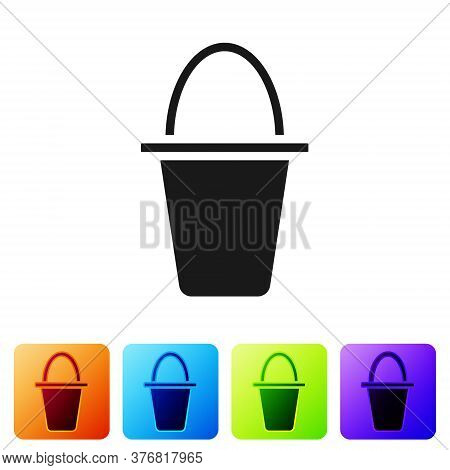Black Fishing Bucket Icon Isolated On White Background. Fish In A Bucket. Set Icons In Color Square