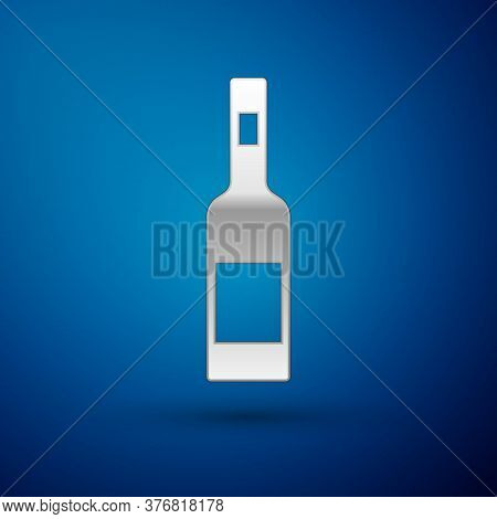 Silver Glass Bottle Of Vodka Icon Isolated On Blue Background. Vector
