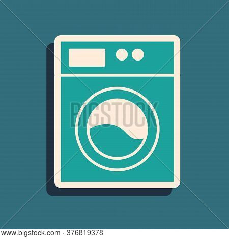 Green Washer Icon Isolated On Green Background. Washing Machine Icon. Clothes Washer - Laundry Machi