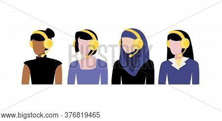 Vector Illustration Set Of Different Women Avatars With Headphones With Microphones, Black, White An