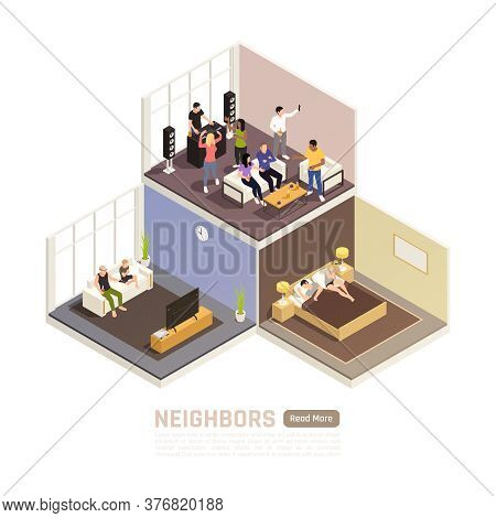 Neighbors Relations Conflicts Couple In Bedroom Suffering From Noisy Party Upstairs Isometric Buildi