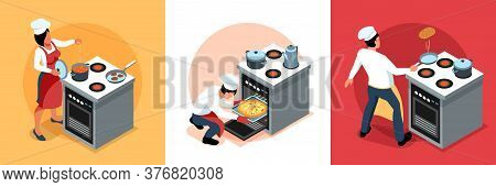 Isometric People Cooking Design Concept With Characters Of Cooks In Uniform At Kitchen Stove With Ki