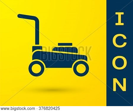 Blue Lawn Mower Icon Isolated On Yellow Background. Lawn Mower Cutting Grass. Vector