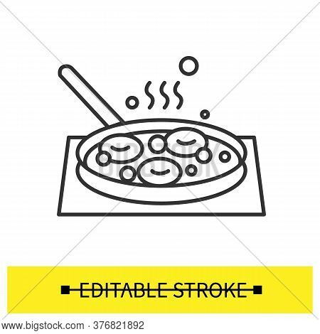 Donuts Frying Icon. Homemade Doughnuts Deep Frying In Skillet Pan Linear Pictogram. Concept Of Home