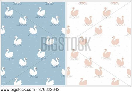 Swan Lake. Cute Seamless Vector Patterns With White Swans Isolated On A Blue Background. Funny Print