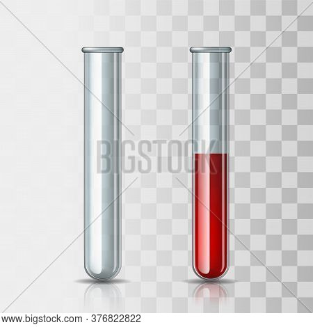 Set Of Scientific Or Medical Glassware - Empty Transparent Test Tube And Test Tube Filled With Blood