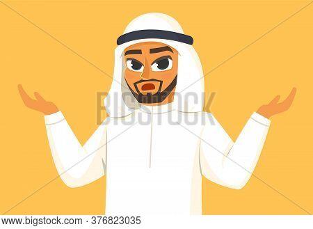 Attractive Arabian Man In Doubt. Vector Illustration In Cartoon Style